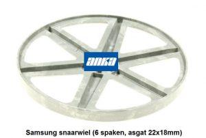 Samsung snaarwiel (6 spaken, asgat 22x18mm),Samsung snaarwiel Wasmachine, Samsung Wasmachine Onderdelen,Samsung Pully Wasmachine.Samsung Wiel voor snaar wasmachine